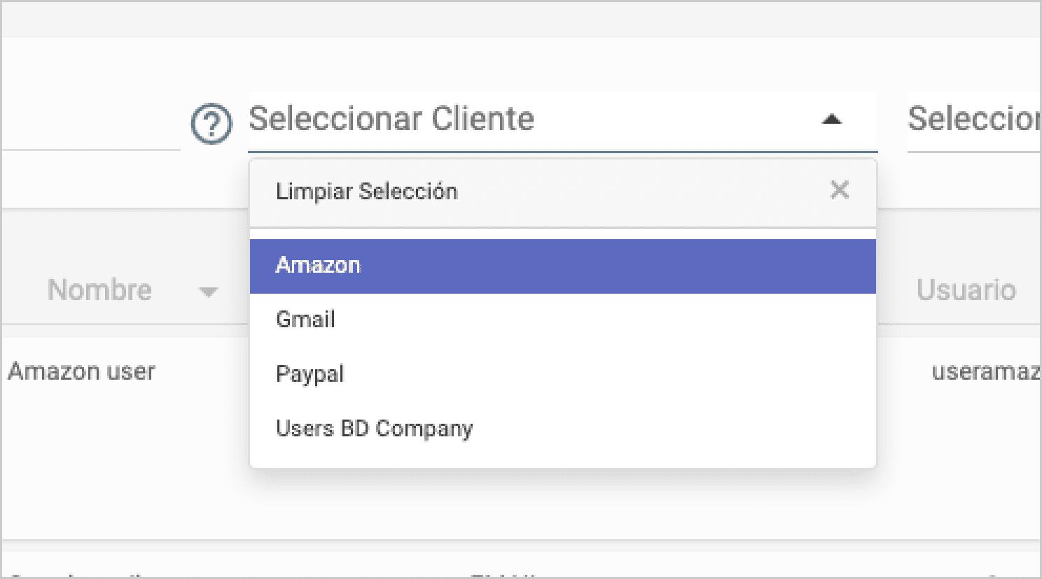 Filtrar contrassenyes per client