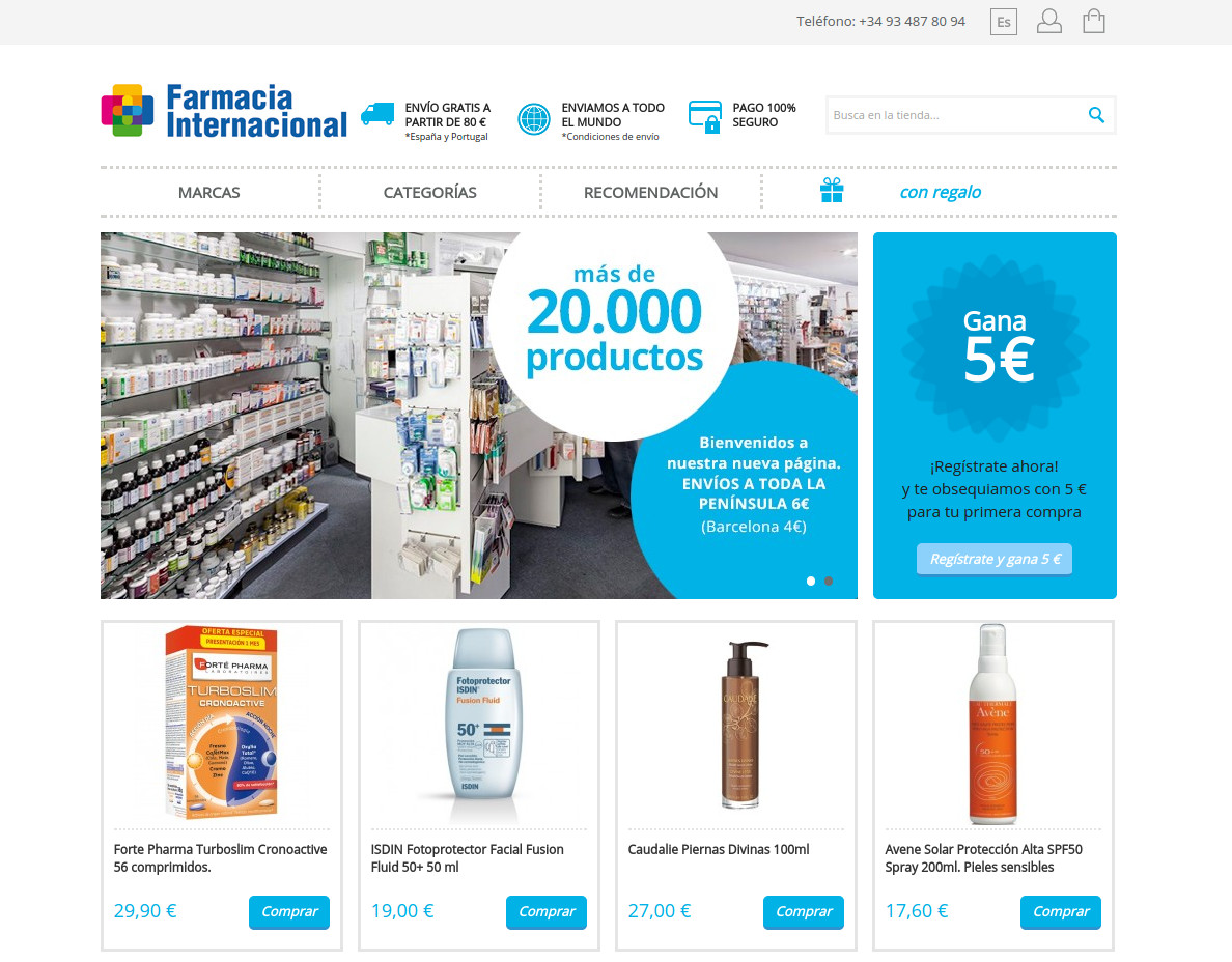 Botiga online Farmàcia Internacional