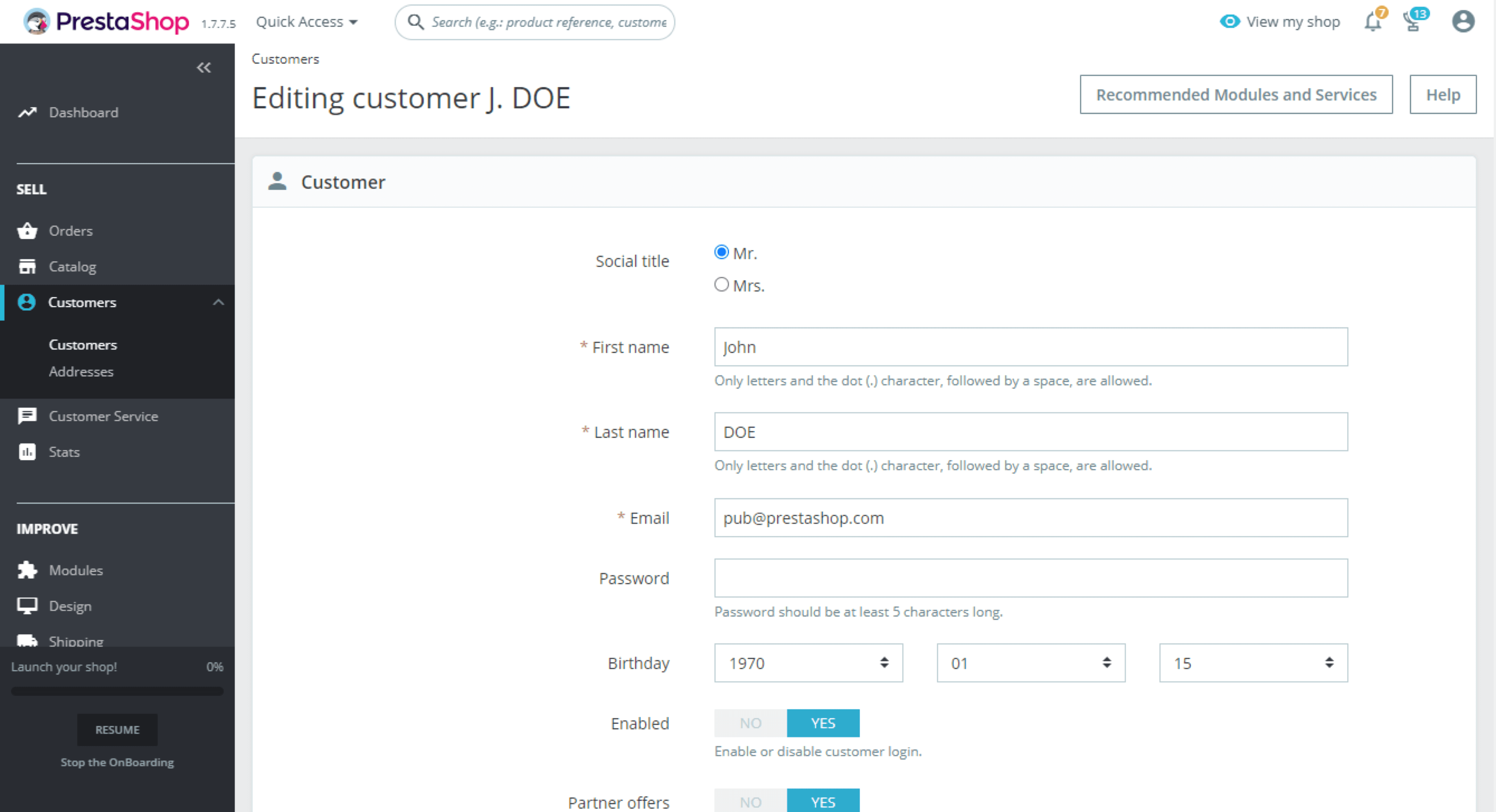 Clients PrestaShop