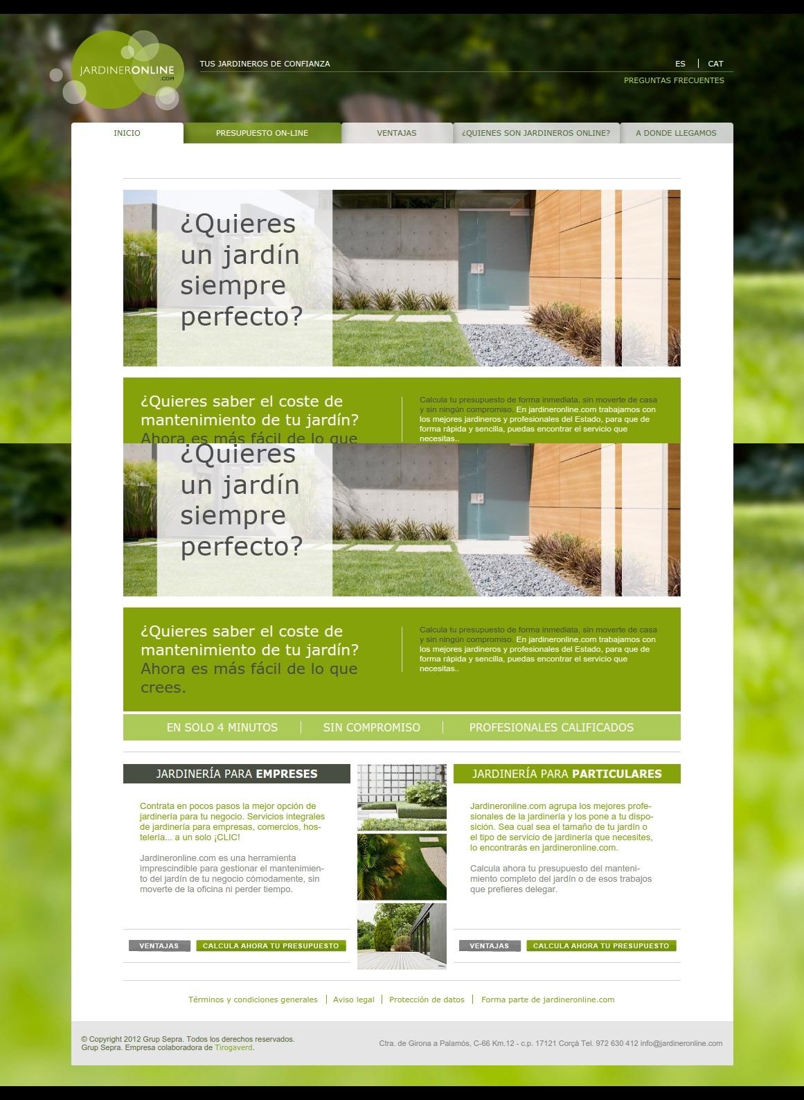 Web corporativa Jardinero online